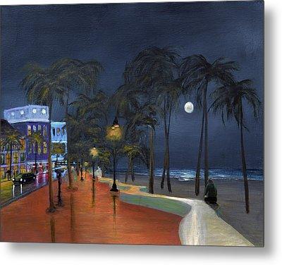 Fort Lauderdale Beach At Night Metal Print