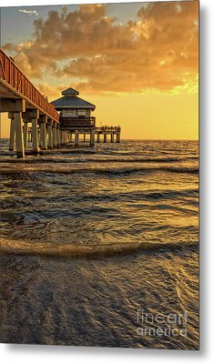Fort Myers Beach Fishing Pier At Sunset Metal Print by Edward Fielding