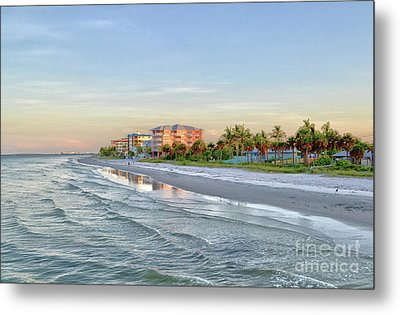 Fort Myers Beach Pier View 2011 Metal Print by Timothy Lowry
