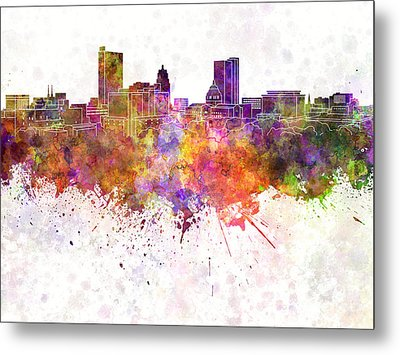 Fort Wayne Skyline In Watercolor Background Metal Print by Pablo Romero