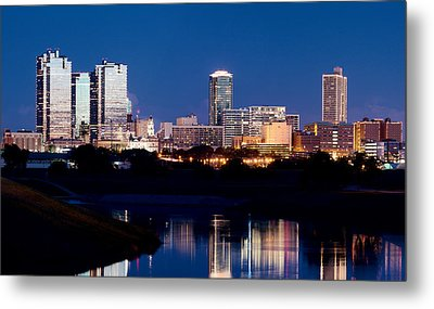Fort Worth Skyline At Night Poster Metal Print