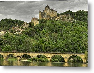 Fortified Castle Of Beynac In Dordogne France Metal Print by Arabesque Saraswathi