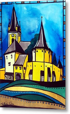 Metal Print featuring the painting Fortified Medieval Church In Transylvania By Dora Hathazi Mendes by Dora Hathazi Mendes