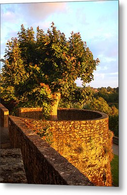 Fortress Tree At Sunset In Le Dorat Metal Print
