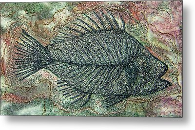 Fossil Fish In Rock Metal Print by Deborah Wirsu