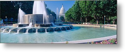Fountain And Us Capitol Building Metal Print by Panoramic Images