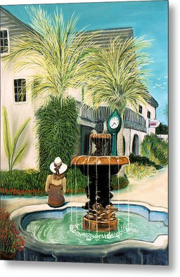 Fountain At St. Augustine Metal Print by Jan Amiss