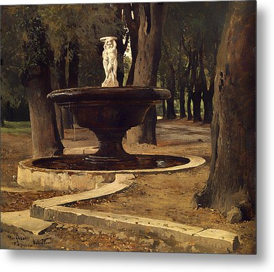 Fountain In The Park Of Villa Borghese In Rome Metal Print