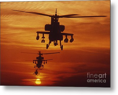Four Ah-64 Apache Anti-armor Metal Print by Stocktrek Images