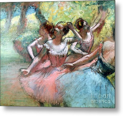 Four Ballerinas On The Stage Metal Print by Edgar Degas
