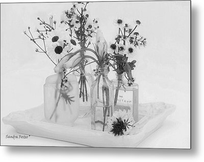Four Bottles And Their Flowers Metal Print by Sandra Foster