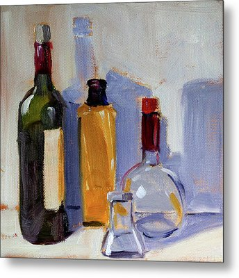 Metal Print featuring the painting Four Bottles by Nancy Merkle