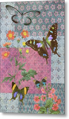 Four Butterfly Patch Blue Metal Print