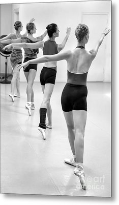 Four Female Dancers During A Ballet Rehearsal Metal Print by Julia Hiebaum