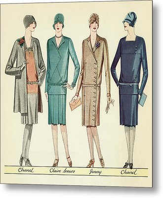 Four Flappers Modelling French Designer Outfits, 1928 Metal Print by American School
