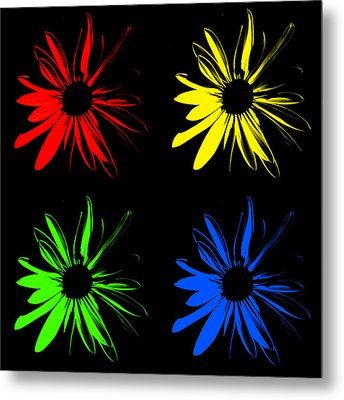 Metal Print featuring the photograph Four Flowers by Maggy Marsh