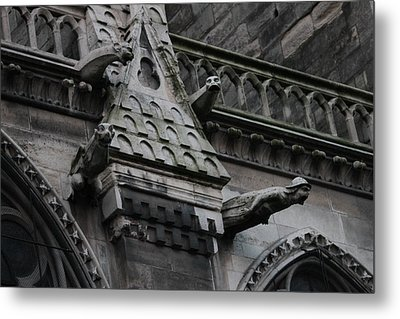 Metal Print featuring the photograph Four Gargoyles On Notre Dame North by Christopher Kirby
