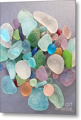 Four Marbles And A Rainbow Of Beach Glass Metal Print