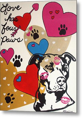 Metal Print featuring the painting Four Pitty Paws by Melissa Goodrich