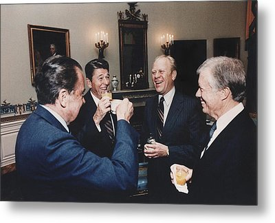 Four Presidents Nixon Reagan Ford Metal Print by Everett