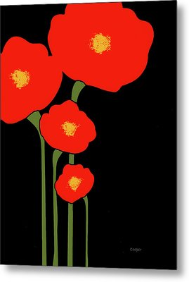 Four Red Flowers On Black Metal Print