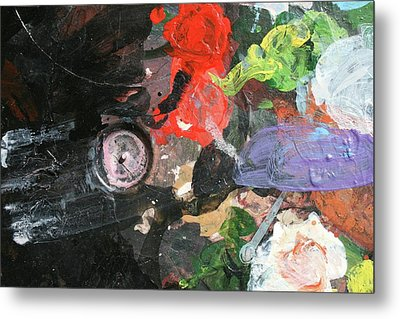 Metal Print featuring the painting Four Roses Abstract by Melinda Saminski