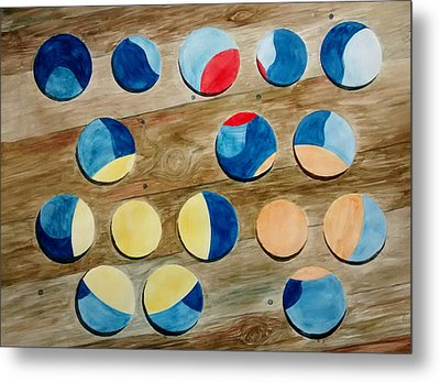 Four Rows Of Circles On Wood Metal Print by Andrew Gillette