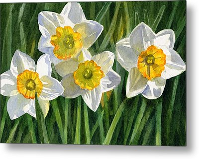 Four Small Daffodils Metal Print