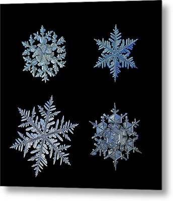 Metal Print featuring the photograph Four Snowflakes On Black Background by Alexey Kljatov