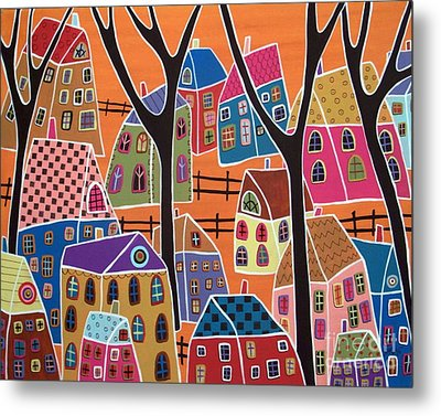 Four Trees And Houses On Orange Metal Print by Karla Gerard