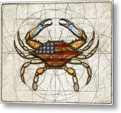 Fourth Of July Crab Metal Print by Charles Harden