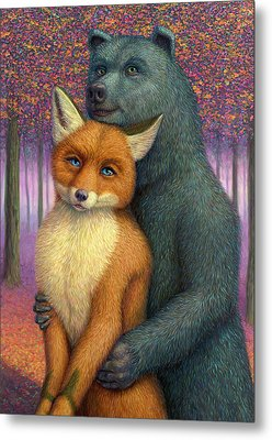 Fox And Bear Couple Metal Print by James W Johnson