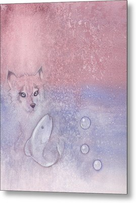 Fox And Fish Metal Print by Christine Winters