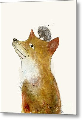 Metal Print featuring the painting Fox And Hedgehog by Bri B