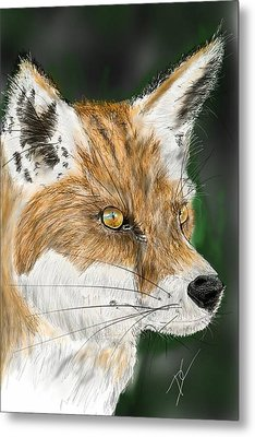 Metal Print featuring the digital art Fox by Darren Cannell