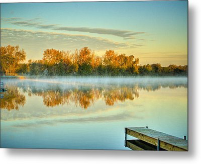 Fox River Above Mchenry Dam At Sunrise Metal Print