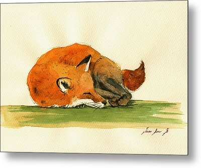 Fox Sleeping Painting Metal Print by Juan  Bosco