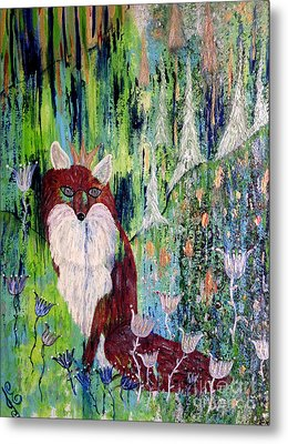 Metal Print featuring the painting Fox Tale by Julie Engelhardt