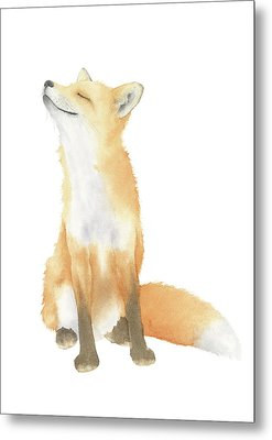 Metal Print featuring the painting Fox Watercolor by Taylan Apukovska