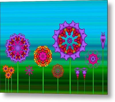 Whimsical Fractal Flower Garden Metal Print