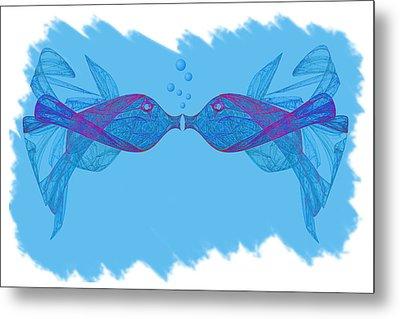 Fractal Kissing Fish Metal Print
