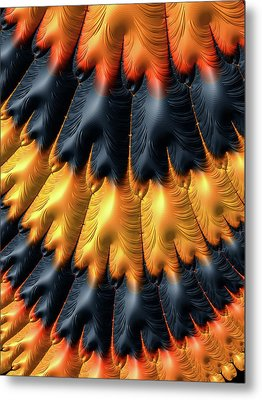 Metal Print featuring the digital art Fractal Pattern Orange And Black by Matthias Hauser