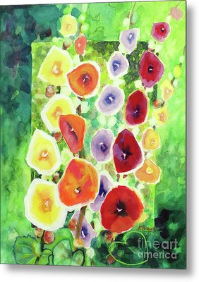 Metal Print featuring the painting Framed In Hollyhocks by Kathy Braud