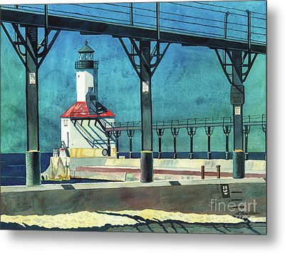 Framed Lighthouse Metal Print by LeAnne Sowa