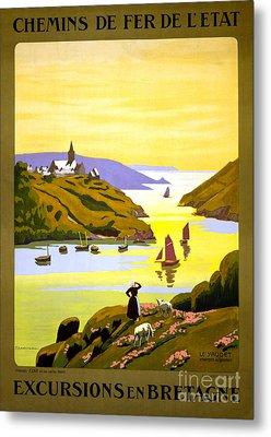 France Bretagne Vintage Travel Poster Restored Metal Print