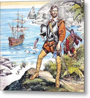 Francis Drake And The Golden Hind Metal Print