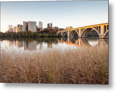 Francis Scott Key Bridge Arlington Virginia Potomac River Reflections Metal Print by Mark VanDyke