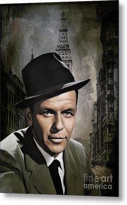 Metal Print featuring the painting  Frank Sinatra by Andrzej Szczerski