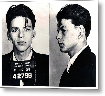 Frank Sinatra Mug Shot Horizontal Metal Print by Tony Rubino