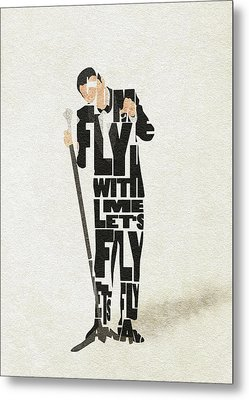 Metal Print featuring the painting Frank Sinatra Typography Art by Inspirowl Design